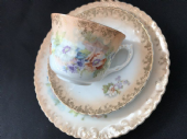 BLUSH ground tea trio cup saucer plate Victorian